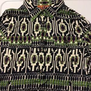 {Tory Burch} 100% Silk Long Sleeve Shirtdress